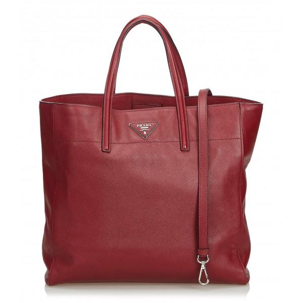 Prada Vintage - Saffiano Leather Soft Tote Bag - Rossa - Borsa in Pelle - Alta Qualità Luxury