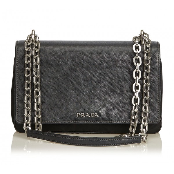 Prada Vintage - Nylon Crossbody Bag - Black - Leather Handbag - Luxury High Quality