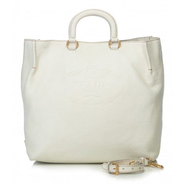 Prada Vintage - Vitello Daino Leather Satchel Bag - Bianco Avorio - Borsa in Pelle - Alta Qualità Luxury