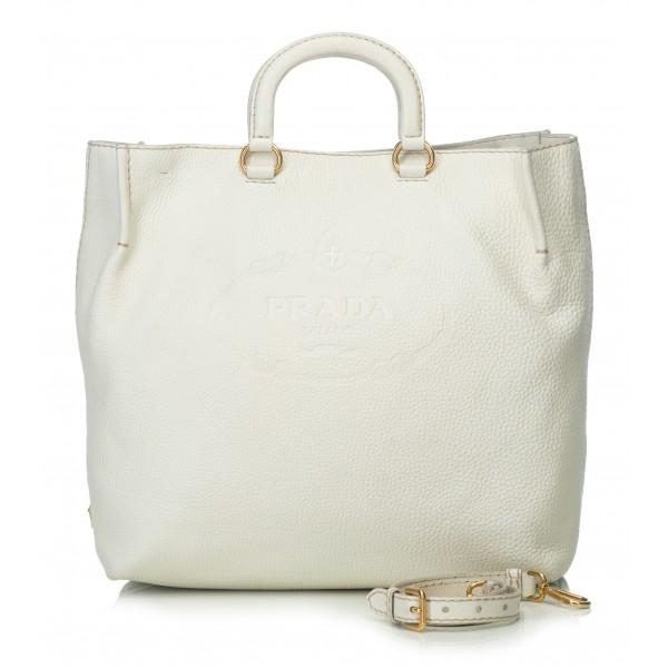 Prada Vintage - Vitello Daino Leather Satchel Bag - Bianco Avorio - Borsa in Pelle - Alta Qualità Luxury