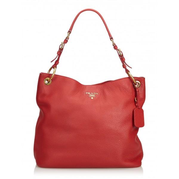 Prada Vintage - Leather Tote Bag - Rossa - Borsa in Pelle - Alta Qualità Luxury