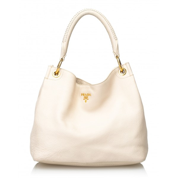 Prada Vintage - Vitello Daino Leather Hobo Bag - Bianco Avorio - Borsa in Pelle - Alta Qualità Luxury