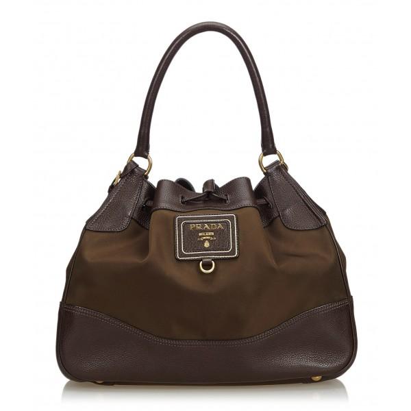 Prada Vintage - Nylon Drawstring Tote Bag - Marrone - Borsa in Pelle - Alta Qualità Luxury