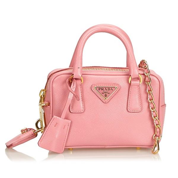 Prada Vintage - Mini Saffiano Leather Satchel Bag - Rosa - Borsa in Pelle - Alta Qualità Luxury