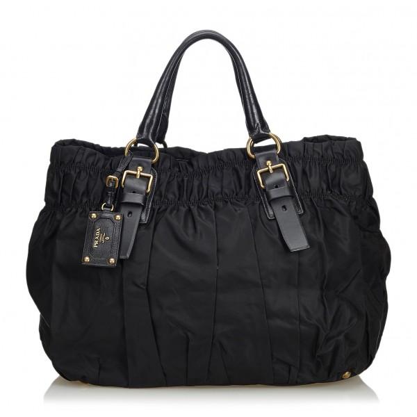 411e2aa2d64d Prada Vintage - Gathered Nylon Tote Bag - Black - Leather Handbag - Luxury  High Quality - Avvenice