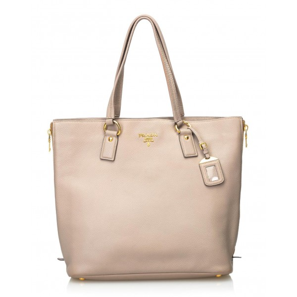 Prada Vintage - Vitello Daino Leather Tote Bag - Marrone Beige - Borsa in Pelle - Alta Qualità Luxury