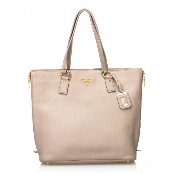 Prada Vintage - Vitello Daino Leather Tote Bag - Marrone Beige - Borsa in Pelle - Alta Qualità Luxury