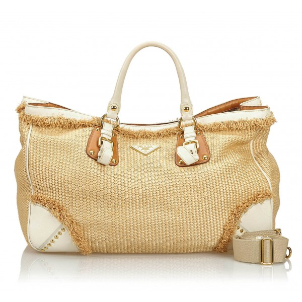Prada Vintage - Raffia Satchel Bag - Marrone Beige - Borsa in Pelle - Alta Qualità Luxury