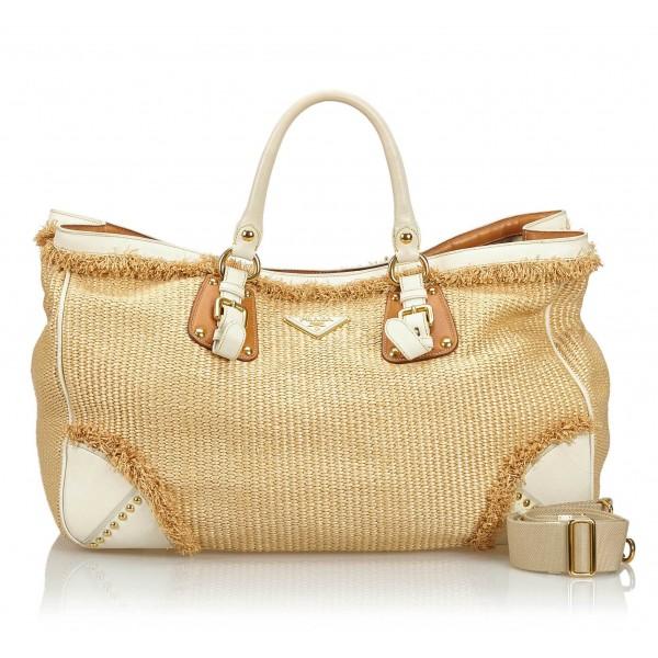 Prada Vintage - Raffia Satchel Bag - Marrone Beige - Borsa in Pelle - Alta Qualità Luxury