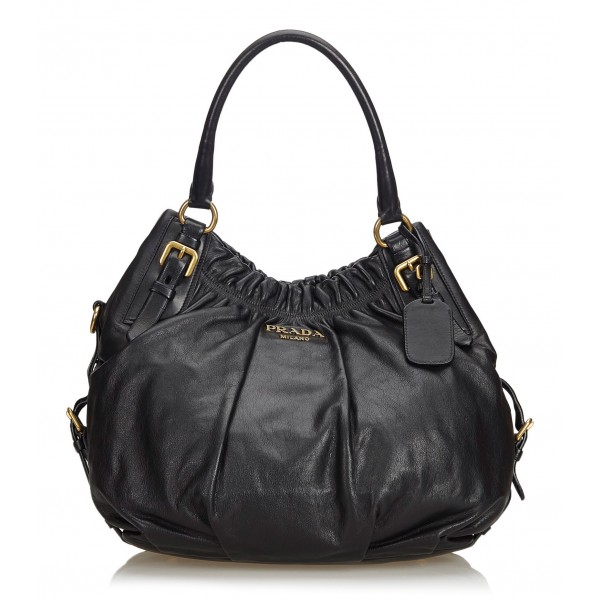 Prada Vintage - Leather Hobo Bag - Nero - Borsa in Pelle - Alta Qualità Luxury