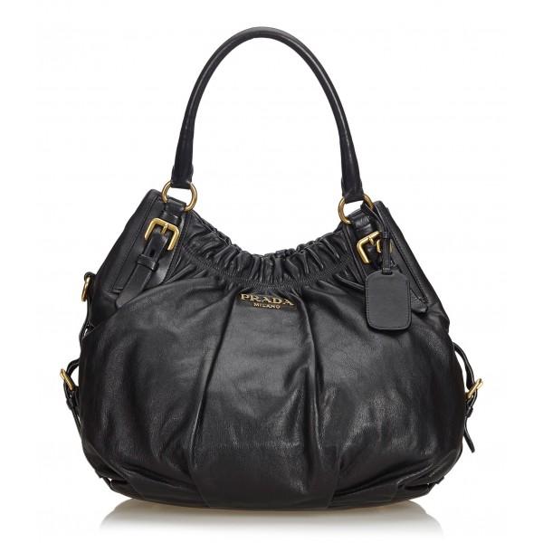 Prada Vintage - Leather Hobo Bag - Nero - Borsa in Pelle - Alta Qualità Luxury