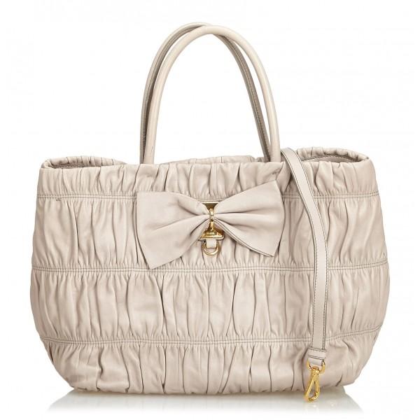Prada Vintage - Gathered Leather Tote Bag - Grigio - Borsa in Pelle - Alta Qualità Luxury