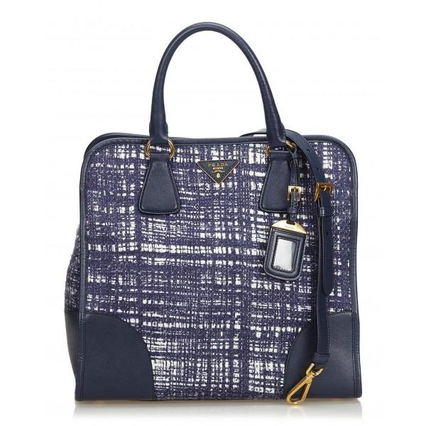 Prada Vintage - Wool Satchel Bag - Blu - Borsa in Pelle - Alta Qualità Luxury