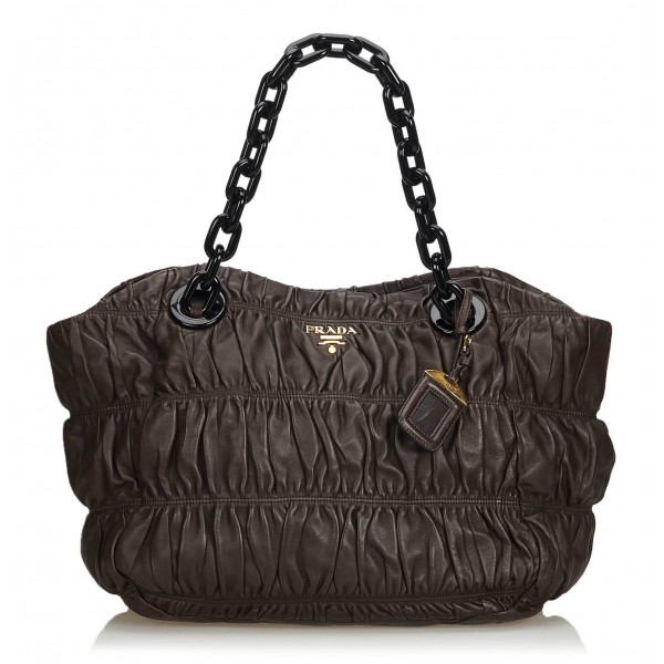 Prada Vintage - Gathered Nappa Leather Chain Tote Bag - Marrone - Borsa in Pelle - Alta Qualità Luxury
