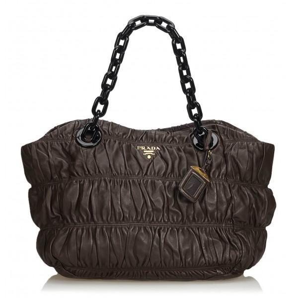 Prada Vintage - Gathered Nappa Leather Chain Tote Bag - Marrone - Borsa in Pelle - Alta Qualità Luxury