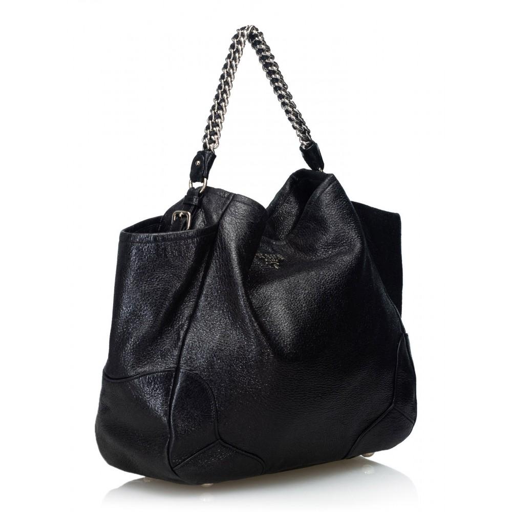 beba79e38a80 ... Prada Vintage - Cervo Lux Chain Tote Bag - Black - Leather Handbag -  Luxury High ...