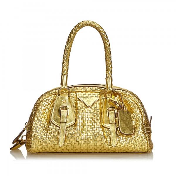 6c69ff40ea67ac Prada Vintage - Madras Intreccio Frame Metallic Handbag Bag - Gold - Leather  Handbag - Luxury High Quality - Avvenice