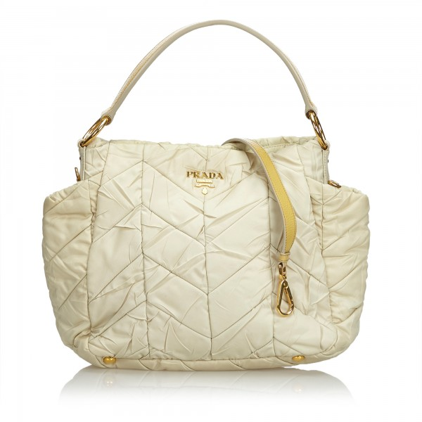04f499826651 Prada Vintage - Quilted Nylon Satchel Bag - White Ivory - Leather Handbag -  Luxury High Quality - Avvenice