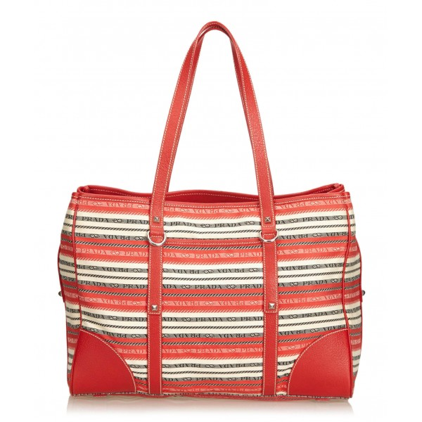 27ea5d009ba7 Prada Vintage - Striped Jacquard Tote Bag - Red White - Leather Handbag -  Luxury High Quality - Avvenice