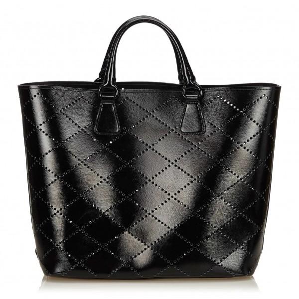 d8310d121159 Prada Vintage - Saffiano Vernice Tote Bag - Black - Leather Handbag -  Luxury High Quality - Avvenice