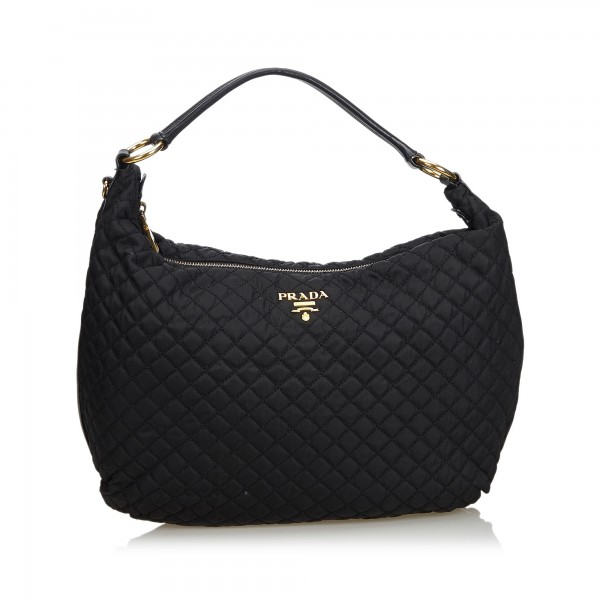 a0314ad9cf5b Prada Vintage - Quilted Nylon Hobo Bag - Black - Leather Handbag - Luxury  High Quality - Avvenice