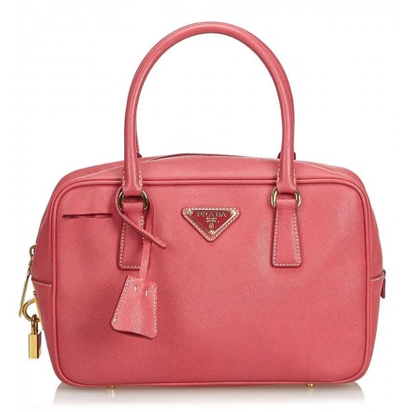 Prada Vintage Saffiano Leather Bauletto Handbag Bag Rosa Borsa in Pelle Alta Qualità Luxury