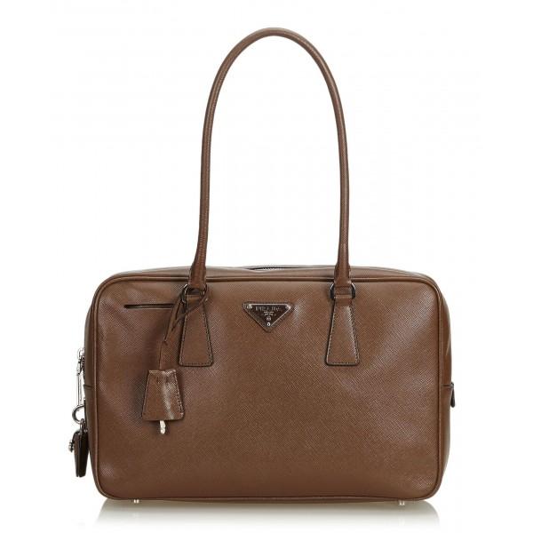 e168de0dedb6 Prada Vintage - Saffiano Leather Bauletto Handbag Bag - Brown - Leather  Handbag - Luxury High Quality - Avvenice