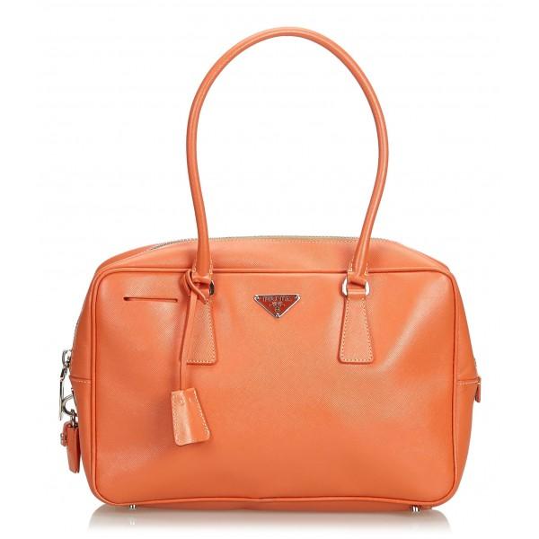 46c7de12ac26 Prada Vintage - Saffiano Leather Bauletto Handbag Bag - Orange - Leather  Handbag - Luxury High Quality - Avvenice