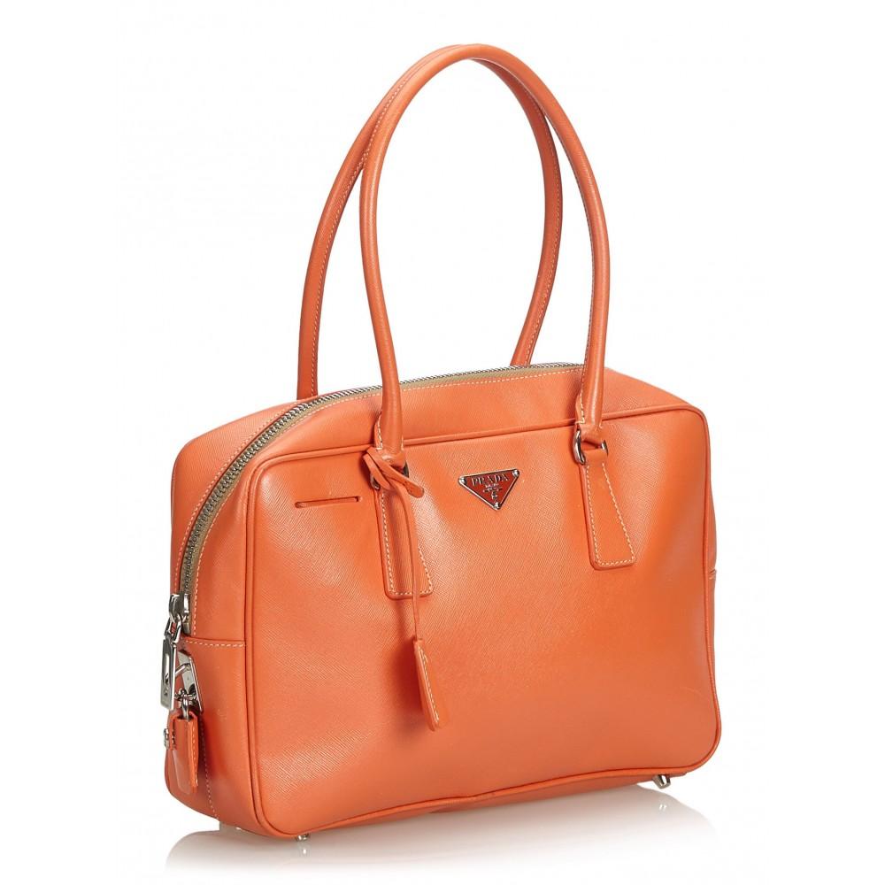 a89acbad3c04 ... Prada Vintage - Saffiano Leather Bauletto Handbag Bag - Orange - Leather  Handbag - Luxury High ...