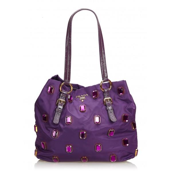 Prada Vintage - Tessuto Pietre Tote Bag - Viola - Borsa in Pelle - Alta Qualità Luxury