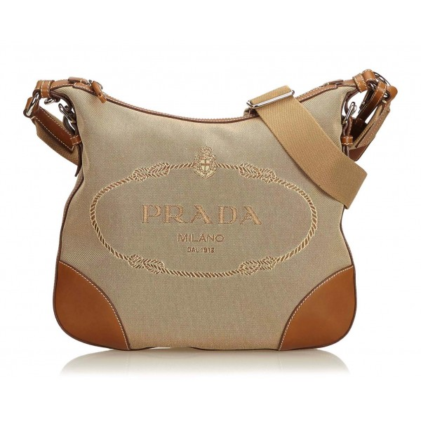 2a43eed7cc42c8 Prada Vintage - Embroided Logo Jacquard Crossbody Bag - Brown - Leather  Handbag - Luxury High Quality - Avvenice