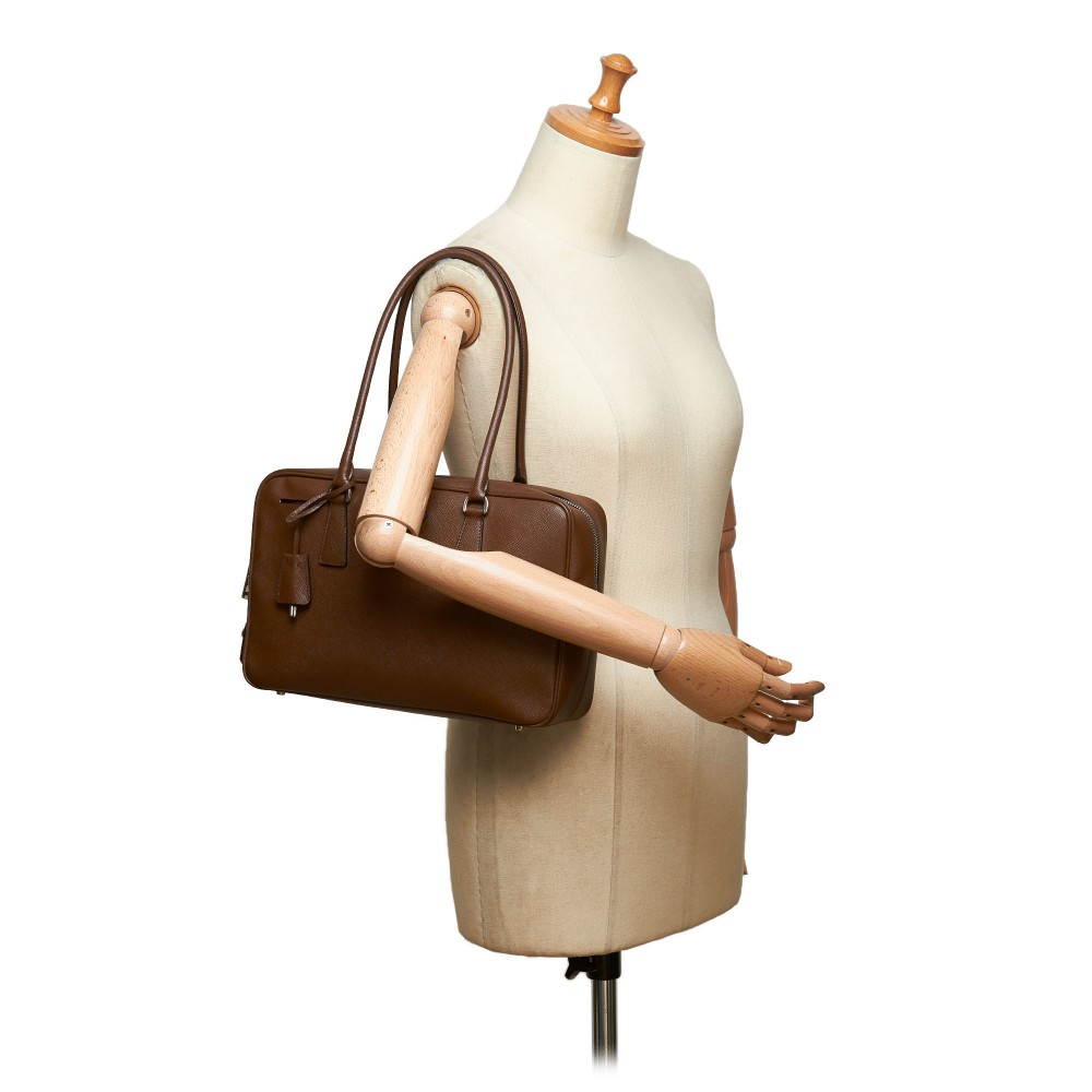 Prada Vintage Saffiano Leather Bauletto Handbag Bag