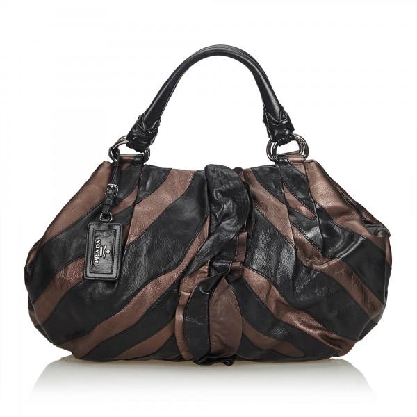 Prada Vintage - Ruffled Mordore Leather Tote Bag - Nero - Borsa in Pelle - Alta Qualità Luxury