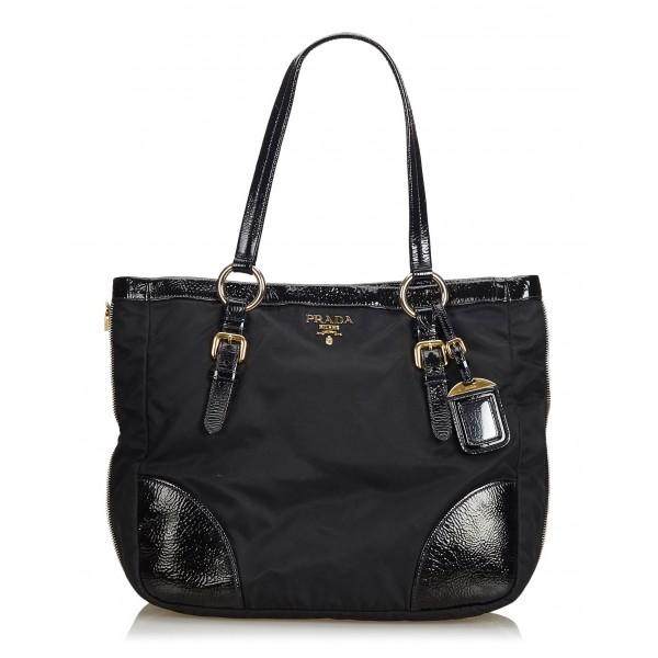 Prada Vintage - Nylon Tote Bag - Nero - Borsa in Pelle - Alta Qualità Luxury