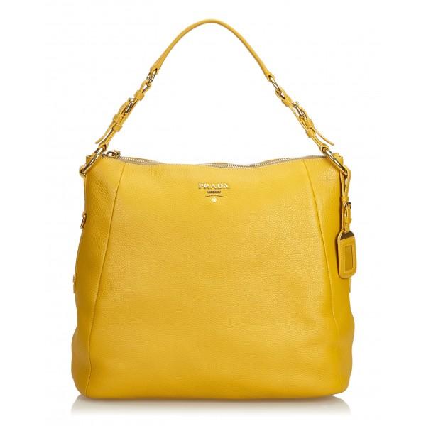 Prada Vintage - Vitello Daino Leather Shoulder Bag - Gialla - Borsa in Pelle - Alta Qualità Luxury