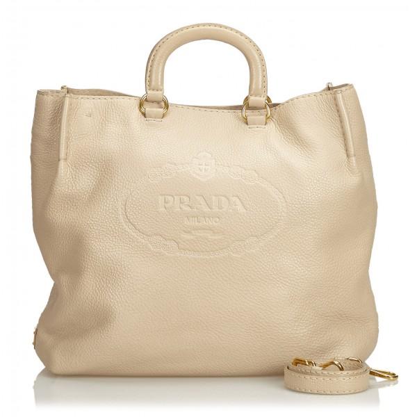 Prada Vintage - Vitello Daino Leather Satchel Bag - Avorio - Borsa in Pelle - Alta Qualità Luxury