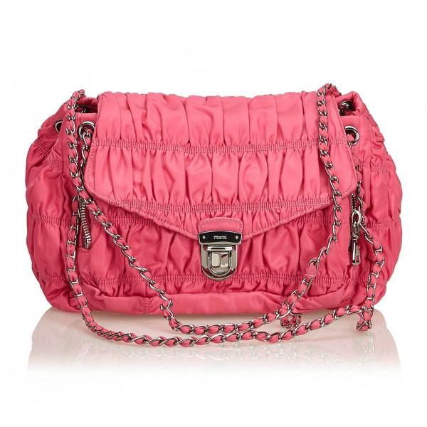 Prada Vintage - Gathered Nylon Chain Shoulder Bag - Rosa - Borsa in Pelle - Alta Qualità Luxury