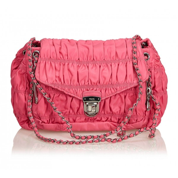 4af0ea6689ef Prada Vintage - Gathered Nylon Chain Shoulder Bag - Pink - Leather Handbag  - Luxury High Quality - Avvenice