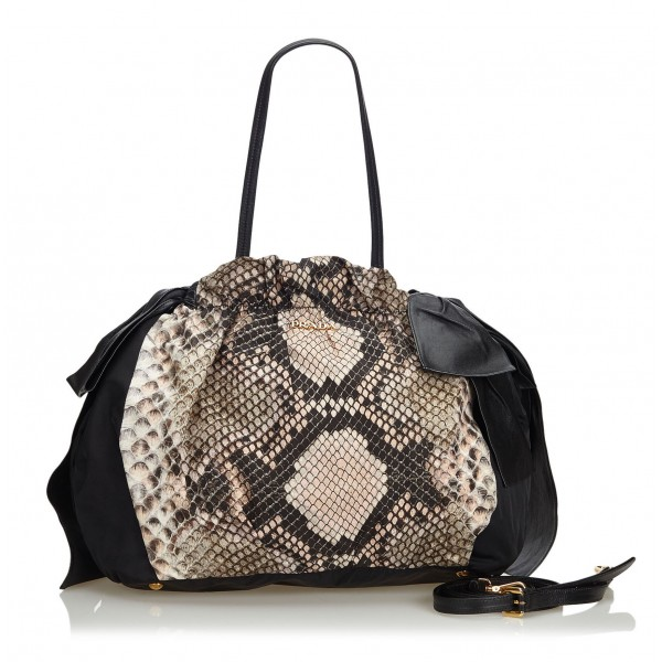 Prada Vintage - Python Print Nylon Shoulder Bag - Nero - Borsa in Pelle - Alta Qualità Luxury