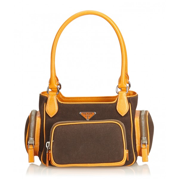 Prada Vintage - Canvas Shoulder Bag - Marrone Beige - Borsa in Pelle - Alta Qualità Luxury
