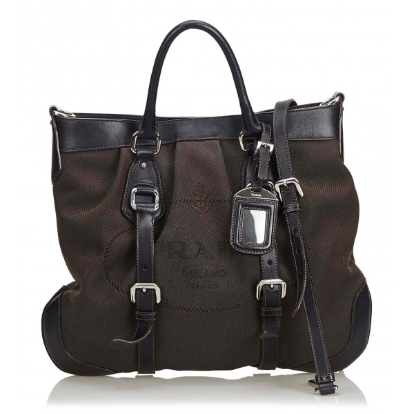 Prada Vintage - Jacquard Canapa Satchel Bag - Marrone - Borsa in Pelle - Alta Qualità Luxury