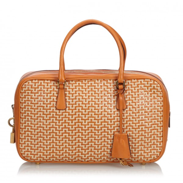 Prada Vintage - Weaved Leather Handbag Bag - Arancione - Borsa in Pelle - Alta Qualità Luxury