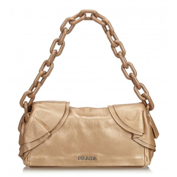 Prada Vintage - Leather Chain Shoulder Bag - Marrone - Borsa in Pelle - Alta Qualità Luxury
