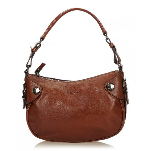 Prada Vintage - Leather Hobo Bag - Marrone - Borsa in Pelle - Alta Qualità Luxury
