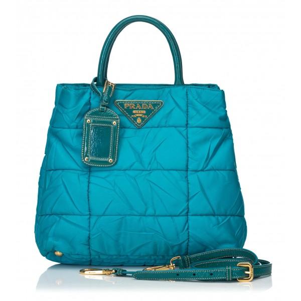 Prada Vintage - Leather-Trimmed Tessuto Satchel Bag - Blu - Borsa in Pelle - Alta Qualità Luxury