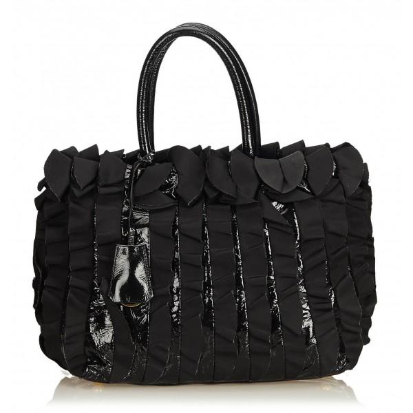 Prada Vintage - Gathered Nylon Tote Bag - Nero - Borsa in Pelle - Alta Qualità Luxury