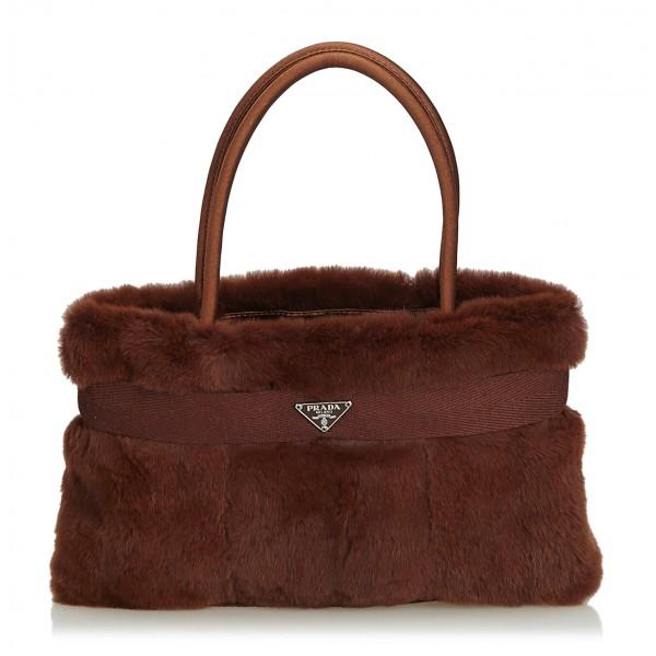 Prada Vintage - Fur Handbag Bag - Marrone - Borsa in Pelle - Alta Qualità Luxury