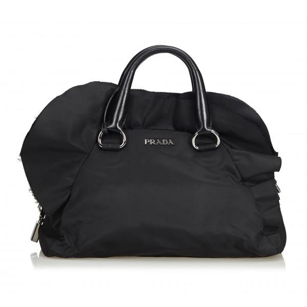 Prada Vintage - Nylon Handbag Bag - Nero - Borsa in Pelle - Alta Qualità Luxury