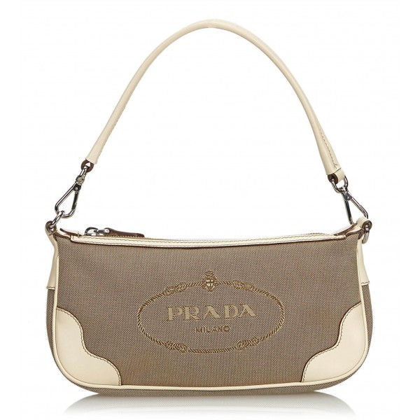 285abf411e93 Prada Vintage - Jacquard Logo Baguette - Brown Beige - Leather Handbag -  Luxury High Quality - Avvenice