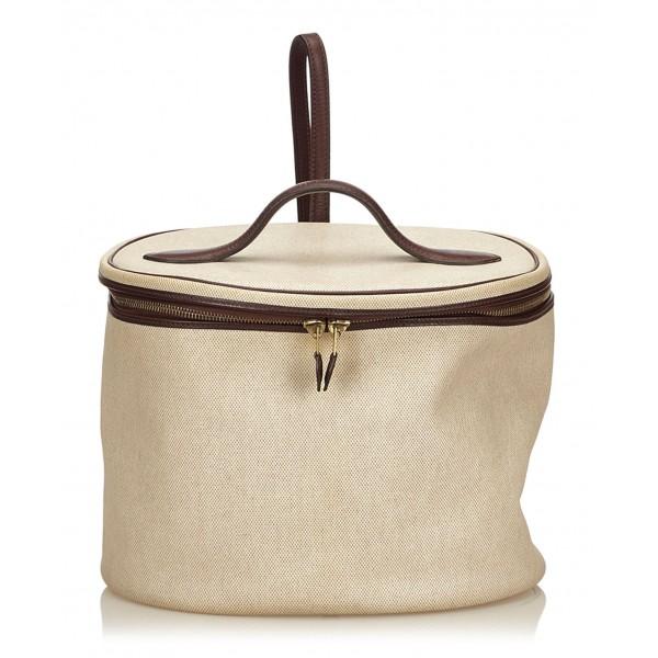 Hermès Vintage - Intercity Vanity Bag - Avorio Marrone Bianco - Borsa in Pelle e Tessuto - Alta Qualità Luxury